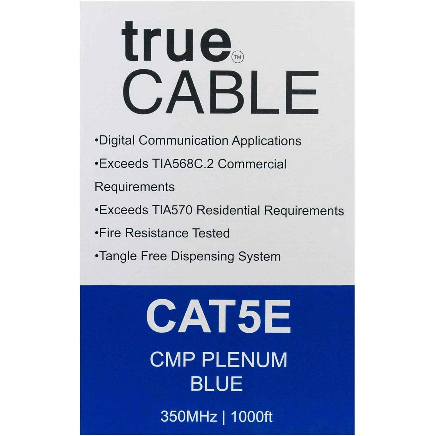 Cat5e Plenum Ethernet Cable Blue 1000ft trueCABLE Box Back