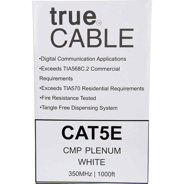 Cat5e Plenum Ethernet Cable White 1000ft trueCABLE Box Back