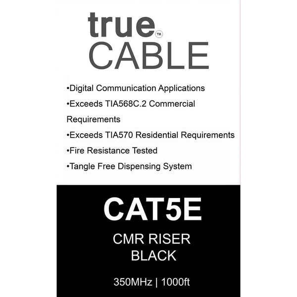 Cat5e Riser Ethernet Cable Black 1000ft trueCABLE Box Back
