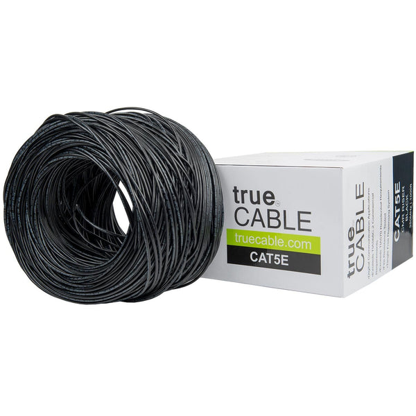 Cat5e Riser Ethernet Cable Black 1000ft trueCABLE Box Top