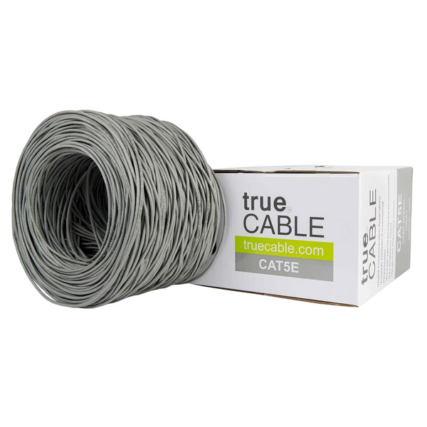 Cat5e Riser Ethernet Cable Gray 1000ft trueCABLE Box Top