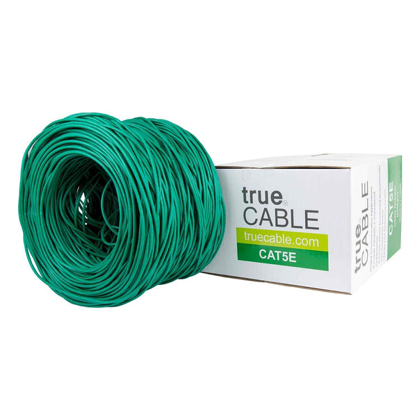 Cat5e Riser Ethernet Cable Green 1000ft trueCABLE Box Top