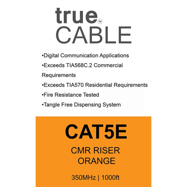 Cat5e Riser Ethernet Cable Orange 1000ft trueCABLE Box Back