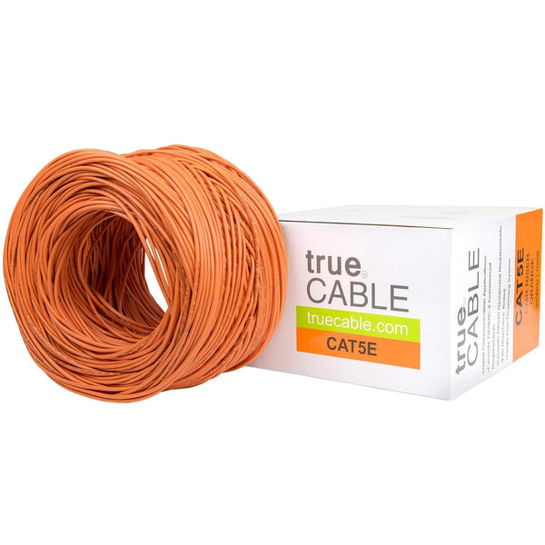 Cat5e Riser Ethernet Cable Orange 1000ft trueCABLE Box Top