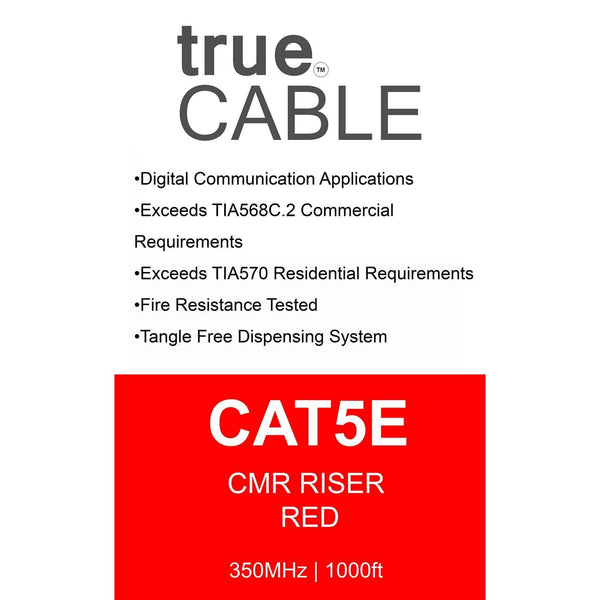 Cat5e Riser Ethernet Cable Red 1000ft trueCABLE Box Back