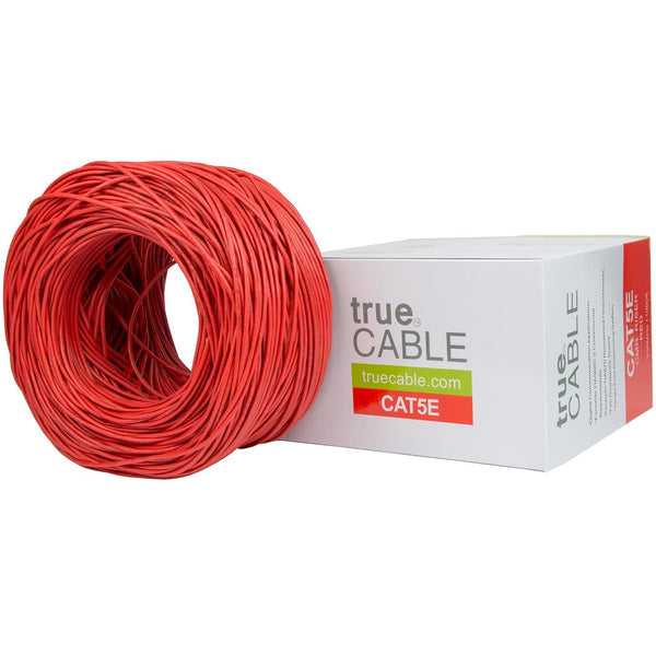 Cat5e Riser Ethernet Cable Red 1000ft trueCABLE Box Top