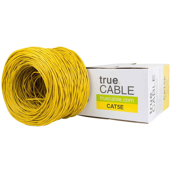 Cat5e Riser Ethernet Cable Yellow 1000ft trueCABLE Box Top