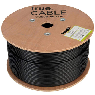 Cat5e Shielded Outdoor Ethernet Cable Black 1000ft trueCABLE Reel No wrap