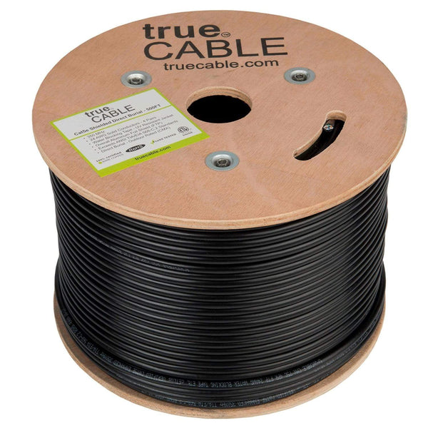 Cat5e Shielded Outdoor Cable Black 500ft trueCABLE Reel No wrap
