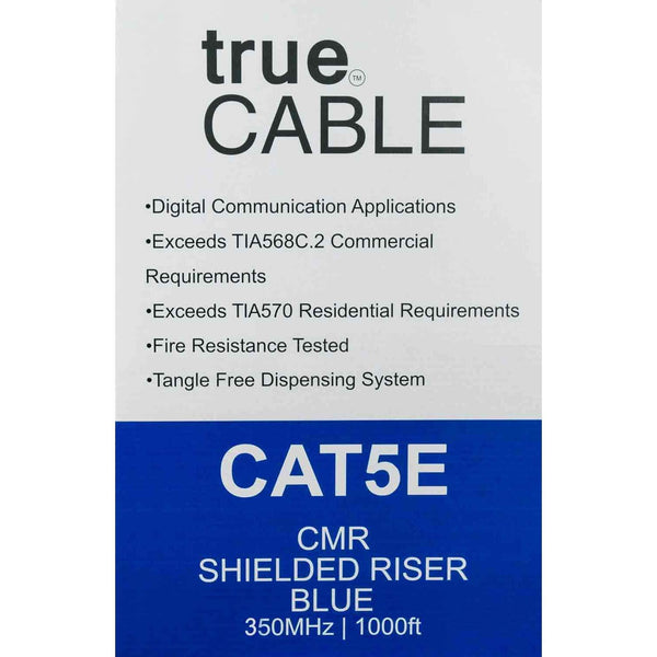 Cat5e Shielded Riser Ethernet Cable Blue 1000ft trueCABLE Box Back