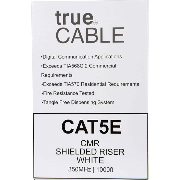 Cat5e Shielded Riser Ethernet Cable White 1000ft trueCABLE Box Back