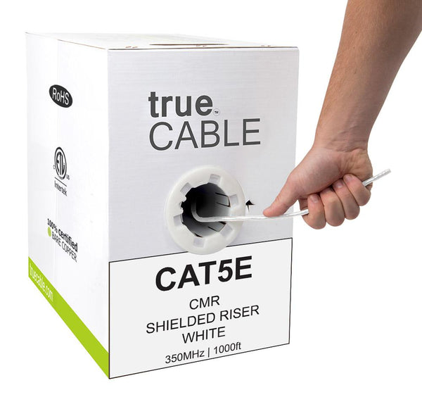 Cat5e Shielded Riser Ethernet Cable White 1000ft trueCABLE Hand Pulling