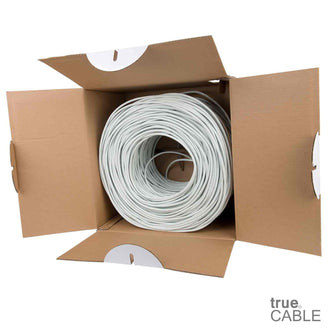 Cat5e Shielded Riser Ethernet Cable White 1000ft trueCABLE Open Box