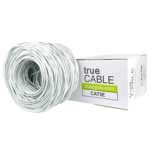 Cat5e Shielded Riser Ethernet Cable White 1000ft trueCABLE Box Top