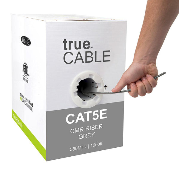 Cat5e Riser Ethernet Cable Gray 1000ft trueCABLE Hand Pulling