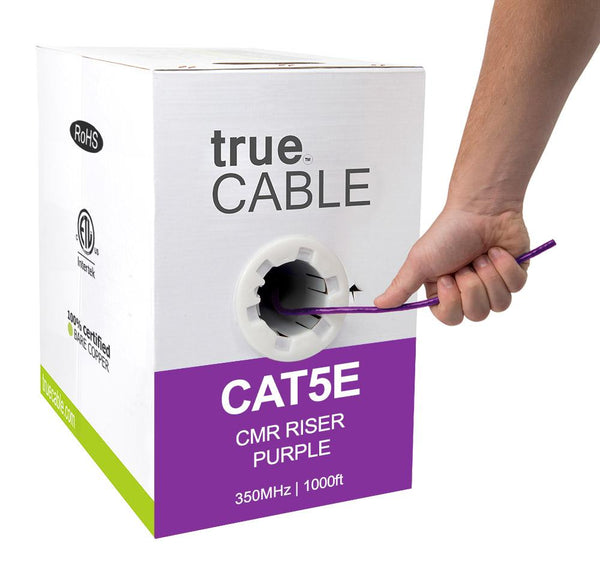 Cat5e Riser Ethernet Cable Purple 1000ft trueCABLE Hand Pulling