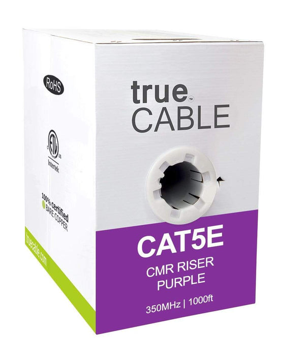 Cat5e Riser Ethernet Cable Purple 1000ft trueCABLE Box Front