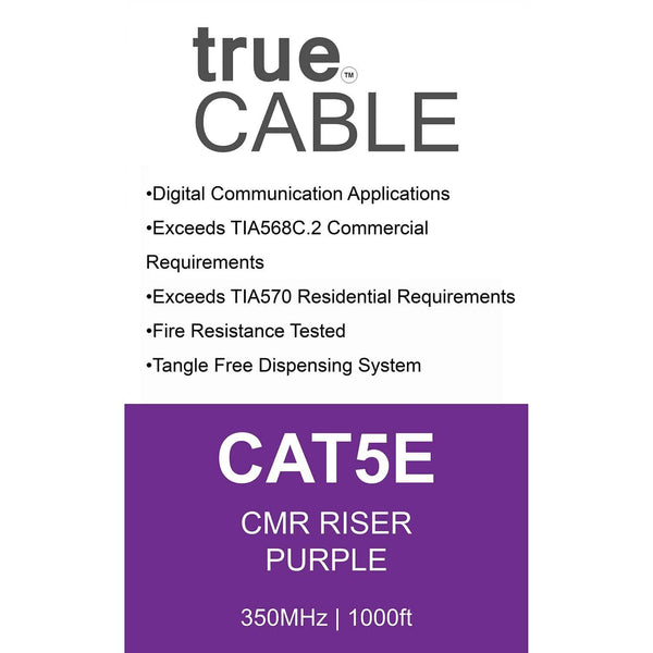 Cat5e Riser Ethernet Cable Purple 1000ft trueCABLE Box Back