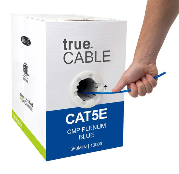 Cat5e Plenum Ethernet Cable Blue 1000ft trueCABLE Box Hand Pulling