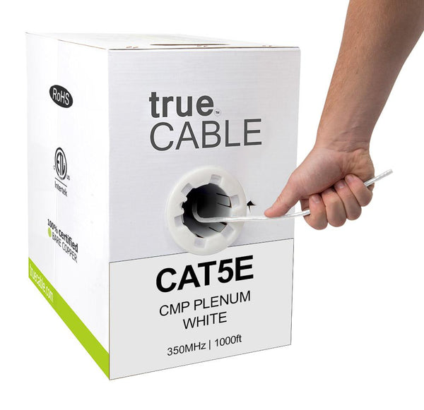 Cat5e Plenum Ethernet Cable White 1000ft trueCABLE Box Hand Pulling