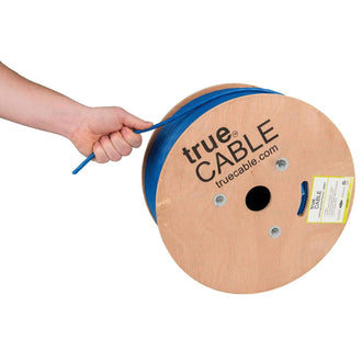 Cat6A Plenum Ethernet Cable Blue 1000ft trueCABLE Hand Pulling