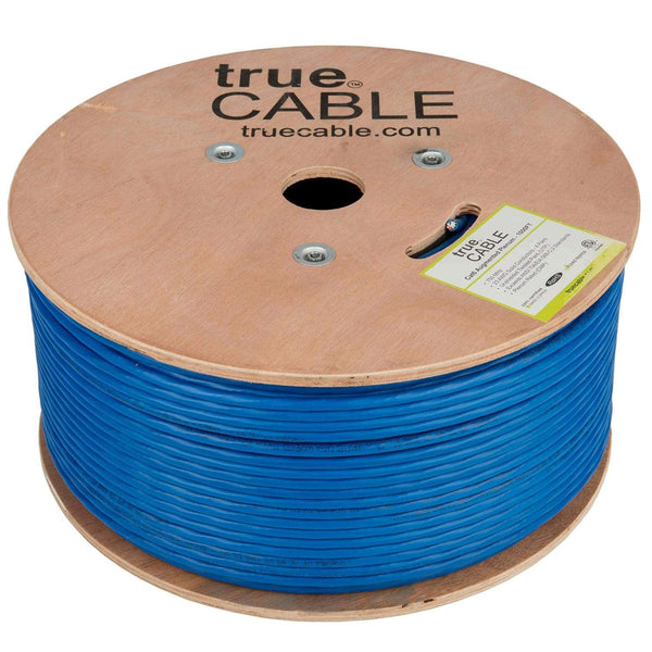 Cat6A Plenum Ethernet Cable Blue 1000ft trueCABLE Reel No Wrap