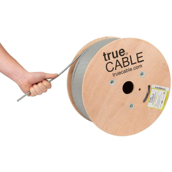 Cat6A Plenum Ethernet Cable Gray 1000ft trueCABLE Hand Pulling