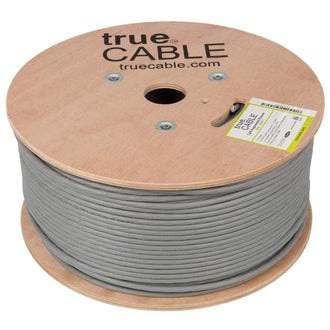 Cat6A Plenum Ethernet Cable Gray 1000ft trueCABLE Reel No Wrap