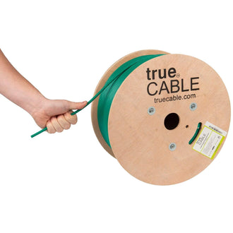 Cat6A Plenum Ethernet Cable Green 1000ft trueCABLE Hand Pulling