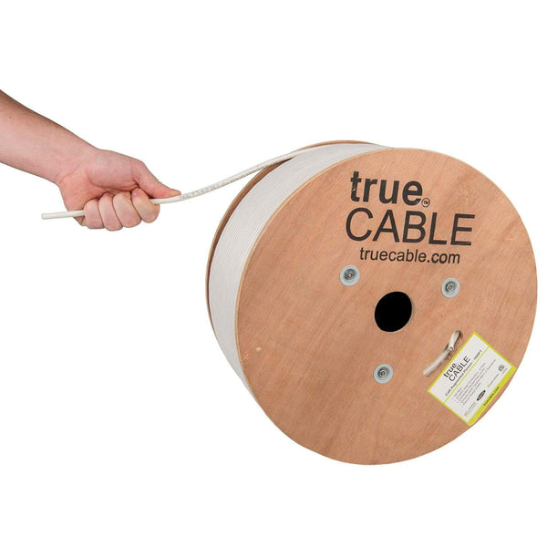 Cat6A Plenum Ethernet Cable White 1000ft trueCABLE Hand Pulling