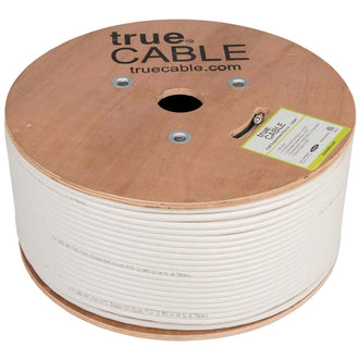 Cat6A Plenum Ethernet Cable White 1000ft trueCABLE Reel No Wrap