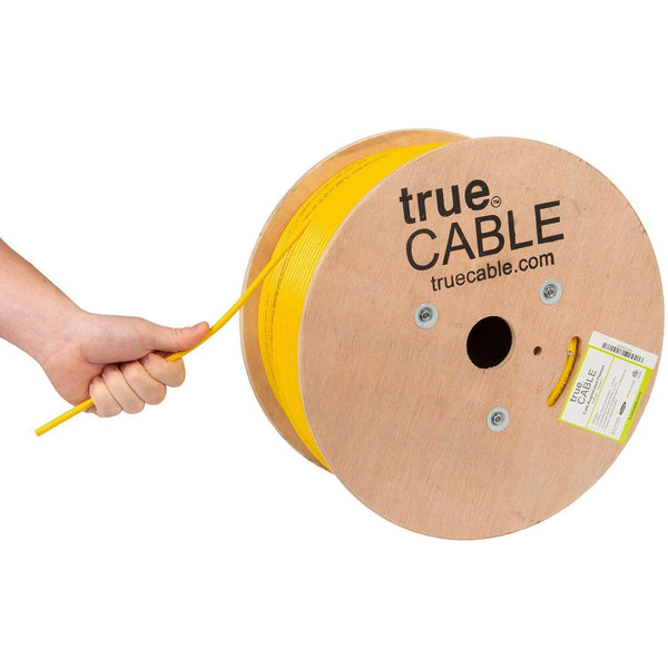 Cat6A Plenum Ethernet Cable Yellow 1000ft trueCABLE Hand Pulling