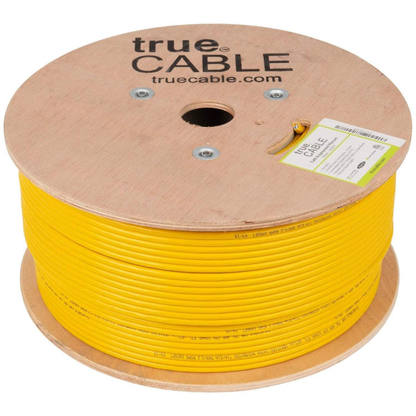 Cat6A Plenum Ethernet Cable Yellow 1000ft trueCABLE Reel No Wrap
