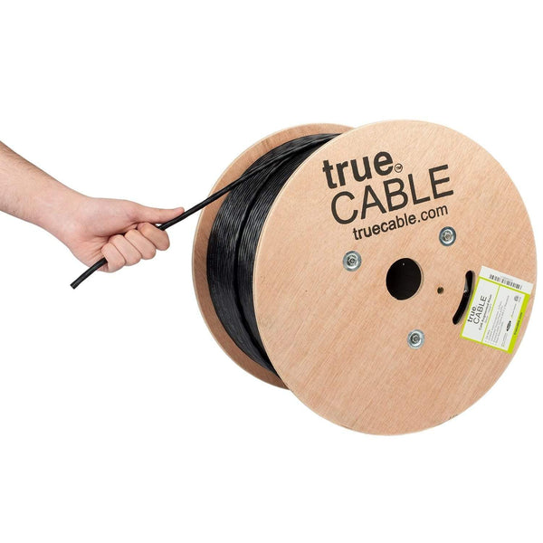 Cat6A Riser Ethernet Cable Black 1000ft trueCABLE Hand Pulling