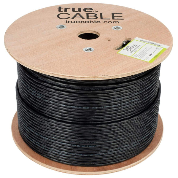 Cat6A Riser Ethernet Cable Black 1000ft trueCABLE Reel No Wrap