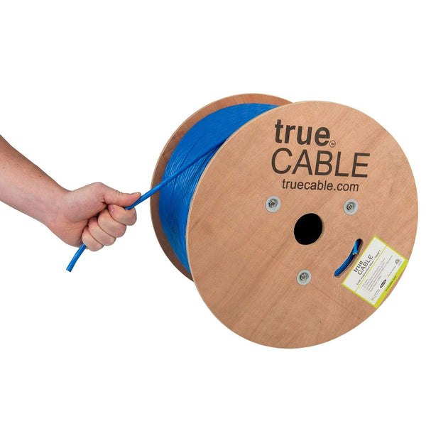 Cat6A Riser Ethernet Cable Blue 1000ft trueCABLE Hand Pulling