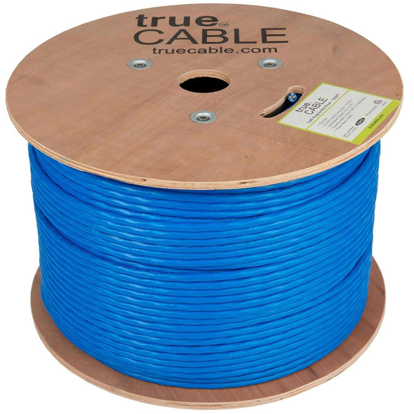 Cat6A Riser Ethernet Cable Blue 1000ft trueCABLE Reel No Wrap