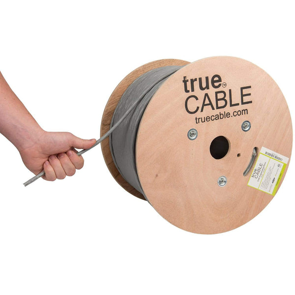 Cat6A Riser Ethernet Cable Gray 1000ft trueCABLE Hand Pulling