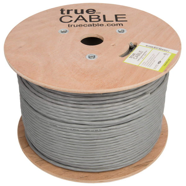 Cat6A Riser Ethernet Cable Gray 1000ft trueCABLE Reel No Wrap
