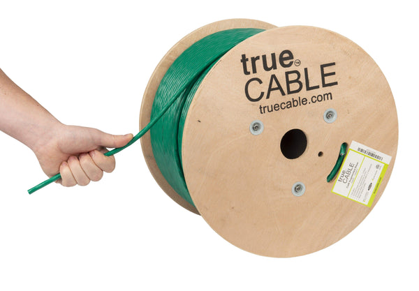 Cat6A Riser Ethernet Cable Green 1000ft trueCABLE Hand Pulling