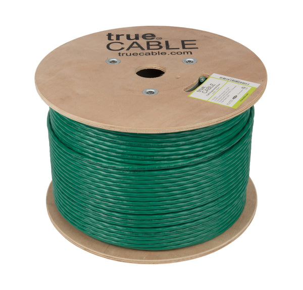 Cat6A Riser Ethernet Cable Green 1000ft trueCABLE Reel No Wrap