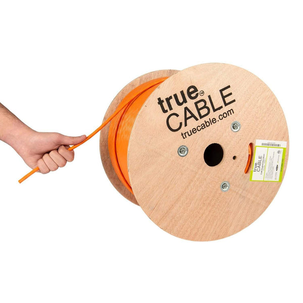 Cat6A Riser Ethernet Cable Orange 1000ft trueCABLE Hand Pulling