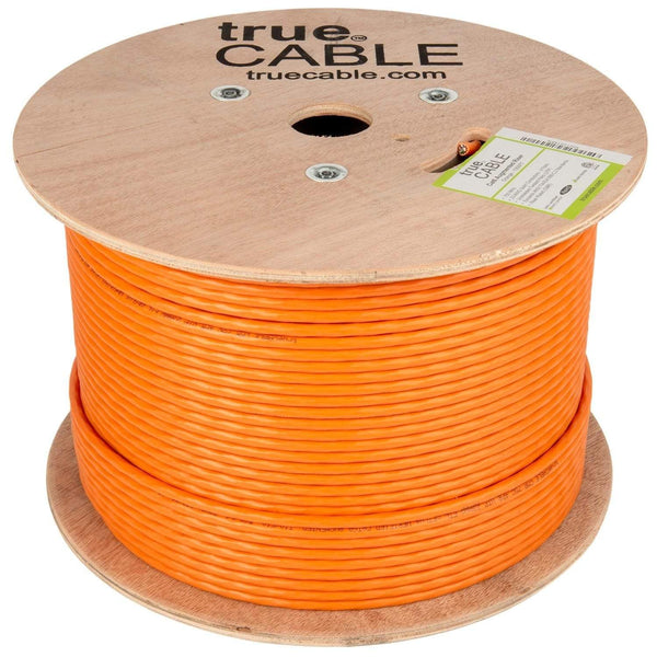 Cat6A Riser Ethernet Cable Orange 1000ft trueCABLE Reel No Wrap
