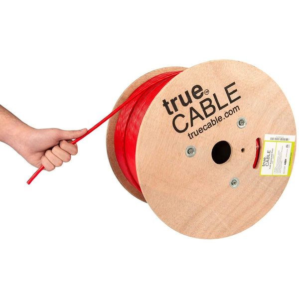 Cat6A Riser Ethernet Cable Red 1000ft trueCABLE Hand Pulling