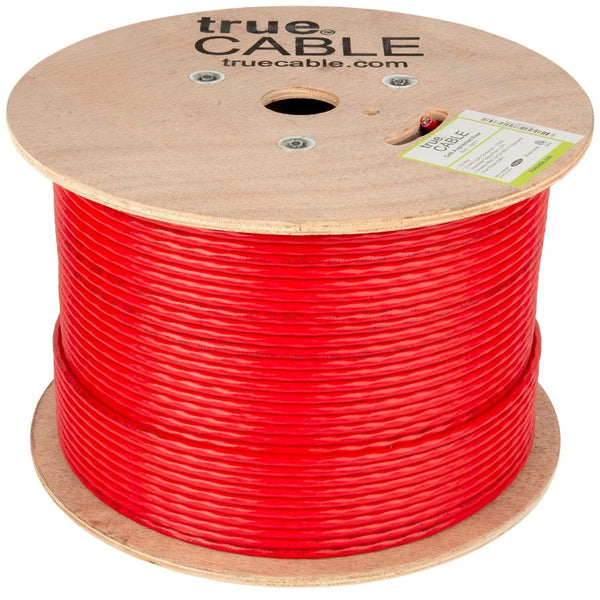 Cat6A Riser Ethernet Cable Red 1000ft trueCABLE Reel No Wrap