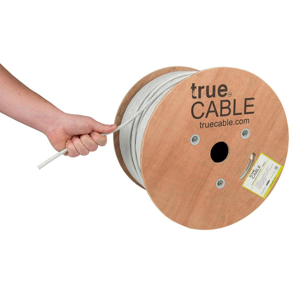 Cat6A Riser Ethernet Cable White 1000ft trueCABLE Hand Pulling