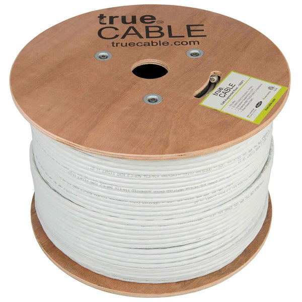 Cat6A Riser Ethernet Cable White 1000ft trueCABLE Reel No Wrap