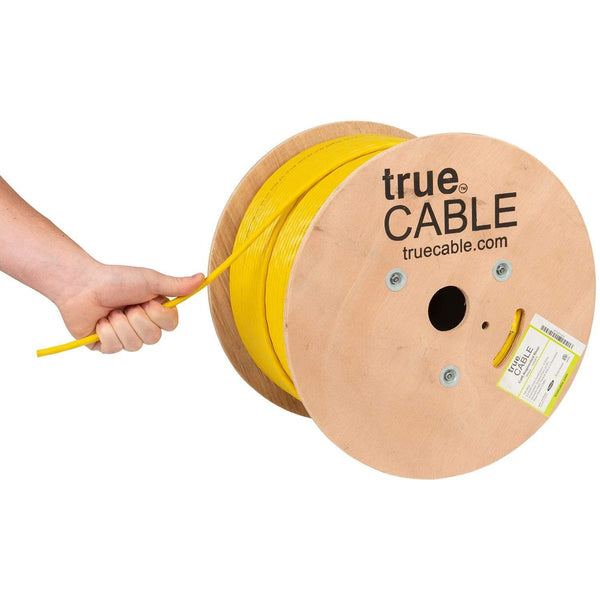 Cat6A Riser Ethernet Cable Yellow 1000ft trueCABLE Hand Pulling