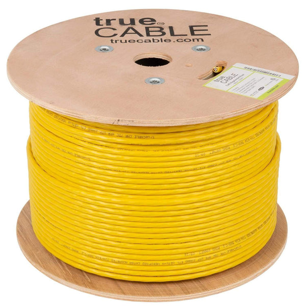 Cat6A Riser Ethernet Cable Yellow 1000ft trueCABLE Reel No Wrap