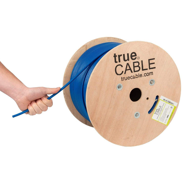 Cat6A Shielded Plenum Ethernet Cable Blue 1000ft trueCABLE Hand Pulling